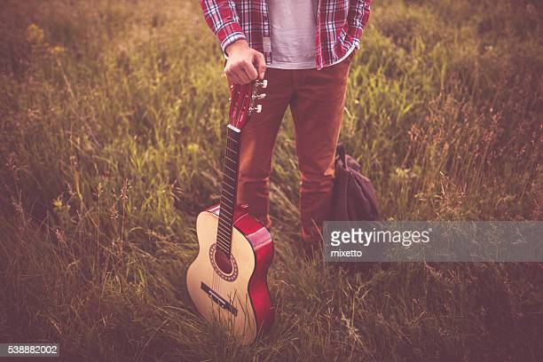 With guitar