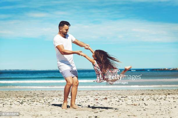With her father, she can fly