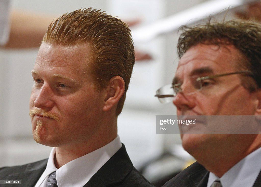 With his attorney, Richard Pintal at his side, Redmond O'Neal listens to the conditions of his probation on probation violations and drug offenses in the Airport Branch Courthouse October 9, 2012 in Los Angeles, California. O'Neil, the son of actors Ryan O'Neal and the late Farrah Fawcett was warned by Judge Keith Schwartz that if he violated any conditions of the probation that he would be sent to jail for six years.