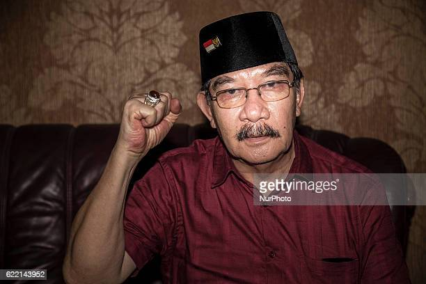 AZHAR with his fist hand proclaim to his freedom from jail during press conference at his house in Bumi Serpong DamaiSouth Tangerang Former...