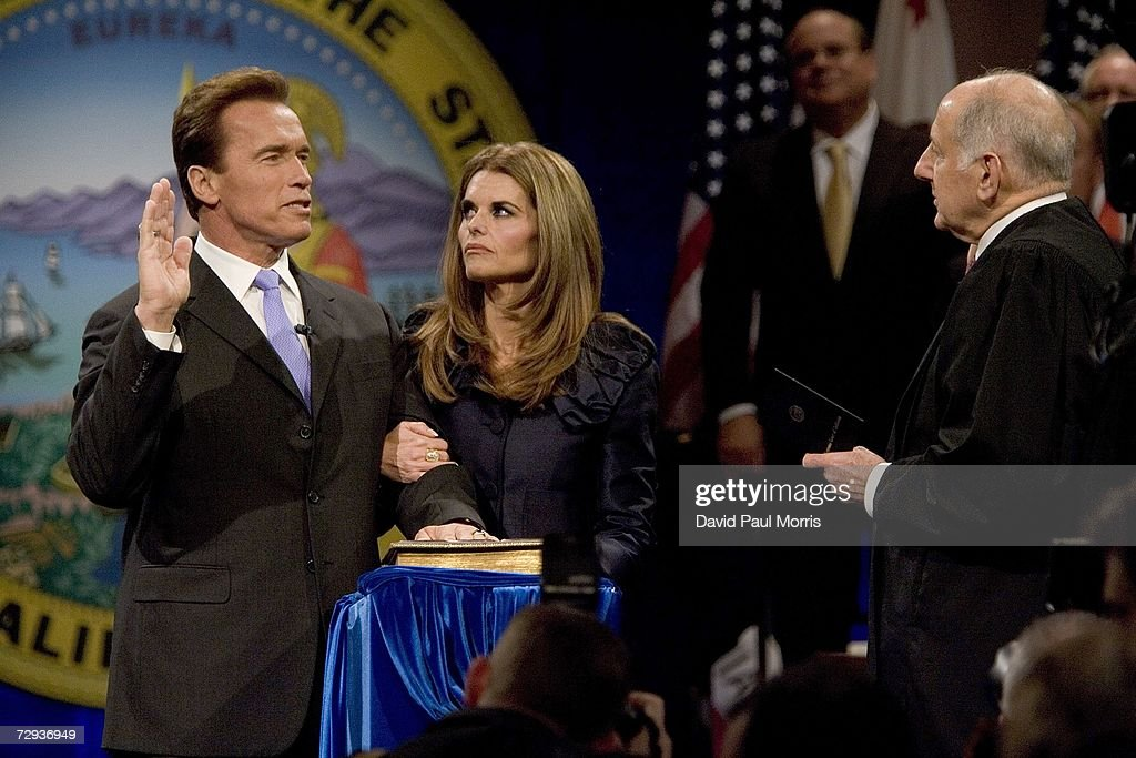 With his wife Maria Shriver by his side California Governor Arnold Schwarzenegger is sworn into office by Supreme Court Chief Justice Ronald George for a second term as Governor on January 5, 2007 in Sacramento, California. Schwarzenegger will begin his second term as governor of California after a landslide victory over democratic challenger Phil Angelides in November of last year.