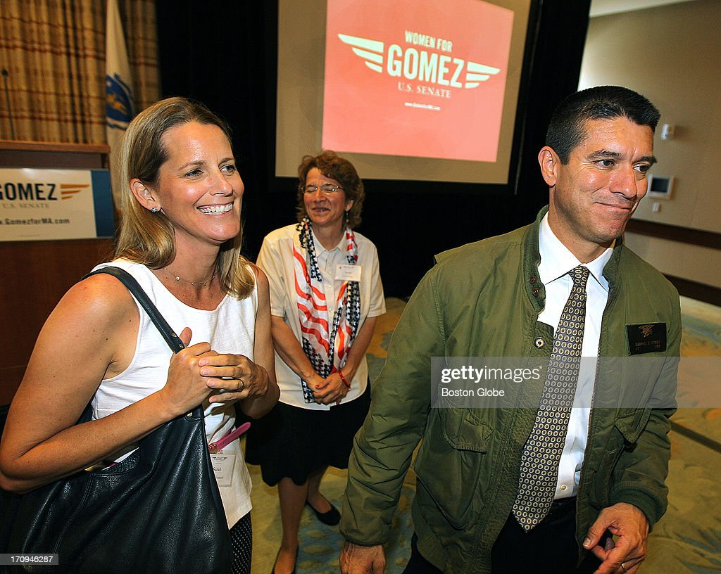 With his wife Sarah Gomez, at left, Gabriel Gomez finished speaking at a Women for Gomez event at the Seaport World Trade Center, on Wednesday, June 19, 2013.
