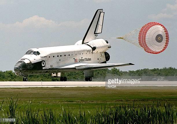 during a space shuttle landing a parachute deploys - photo #6