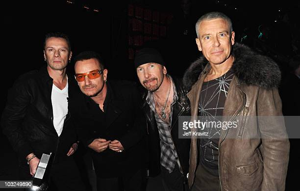 U2 with Larry Mullen Jr Bono The Edge and Adam Clayton pose for a picture backstage during the 2009 MTV Europe Music Awards held at the O2 Arena on...