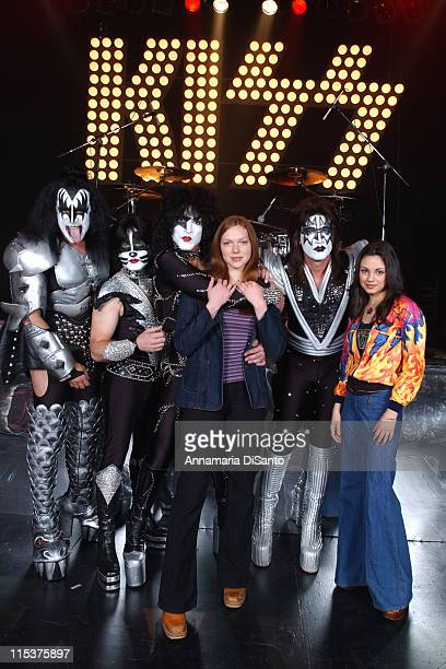 KISS with Laura Prepon and Mila Kunis during Special Performance of KISS on the Season Opener of 'That 70's Show' at Hollywood Studios in Los Angeles...