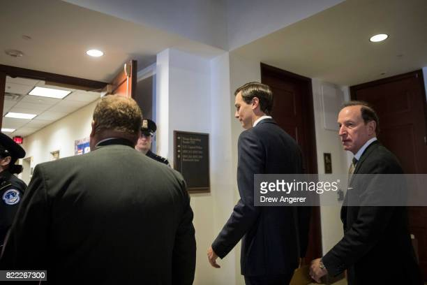 With lawyer Abbe Lowell accompanying him White House Senior Advisor and President Donald Trump's soninlaw Jared Kushner arrives for his interview...