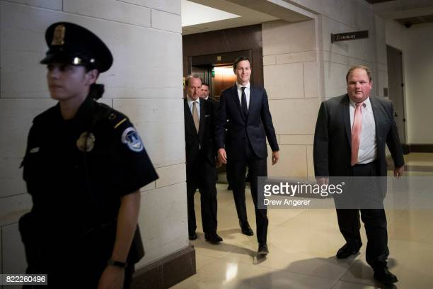 With lawyer Abbe Lowell accompanying himWhite House Senior Advisor and President Donald Trump's soninlaw Jared Kushner arrives for his interview with...