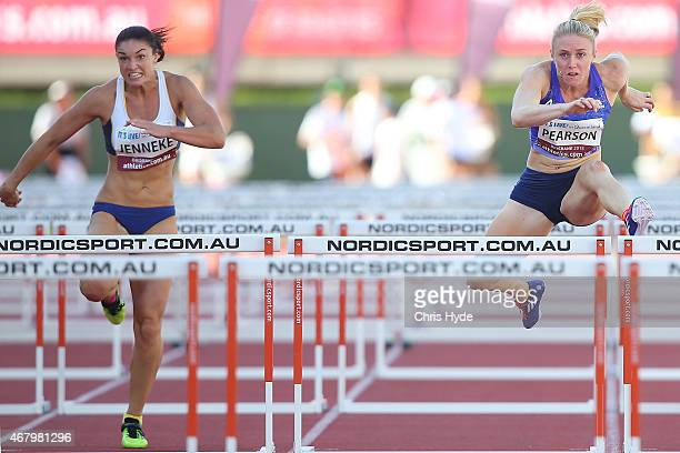 with Michelle Jenneke and Sally Pearson compete in the Womens 100m Hurdles final during the Australian Athletics Championships at the Queensland...