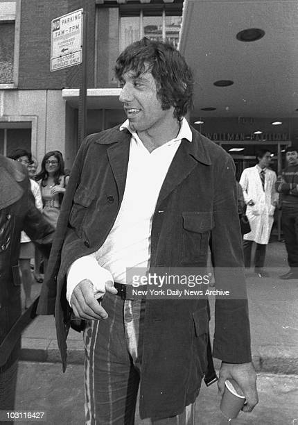 With new rumors of retirement and a new career in the films very much in evidence New York Jets quarterback Joe Namath wears a brandnew cast on his...