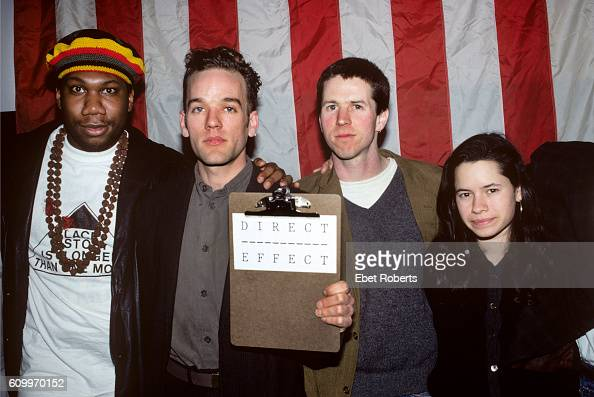 KRS1 with REM's Michael Stipe filmaker Jim McKay and Natalie Merchant of 10000 Maniacs at a press conference promoting Direct Effect public service...