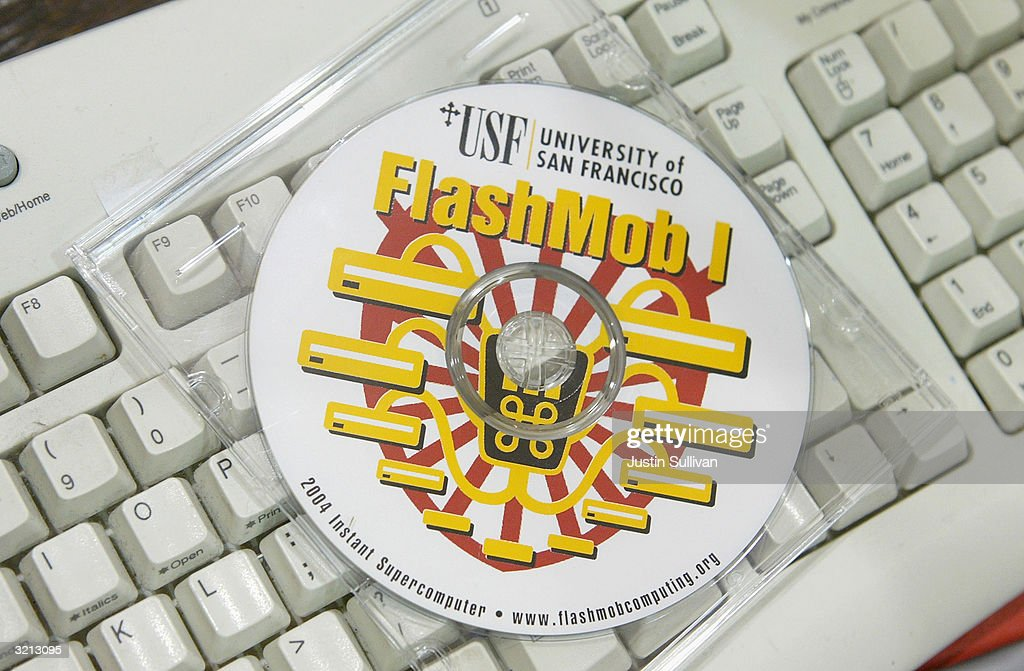 A CD with software for Flashmob 1 is seen on a keyboard April 3, 2004 at the University of San Francisco in San Francisco, California. Hundreds of computer enthusiasts connected hundreds of computers via high-speed LAN to work together as a single supercomputer in hopes to place in the top 500 fastest supercomputers on earth.