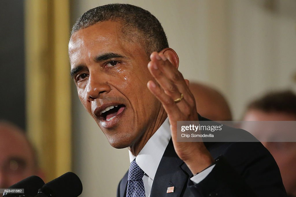 With tears running down his cheeks US President Barack Obama talks about the victims of the 2012 Sandy Hook Elementary School shooting and about his...
