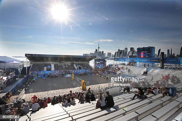 TORONTO ON SEPTEMBER 13 With the City of Toronto in the background the games happen on Polson Pier The play in game between former Olympic teammates...