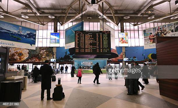 With the MBTA's train service suspended because of snow conditions there was little activity in South Station on February 10 2015 One security...
