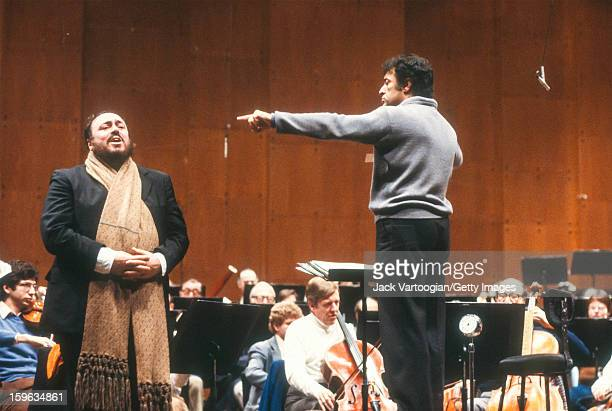 With the New York Philharmonic Orchestra Italian tenor Luciano Pavarotti and Indian conductor Zubin Mehta rehearse for the Public Television...