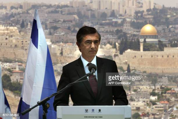 With the old city of Jerusalem and Islam's 'Dome of the Rock' in the background French Foreign Minister Philippe DousteBlazy gives a speech during...