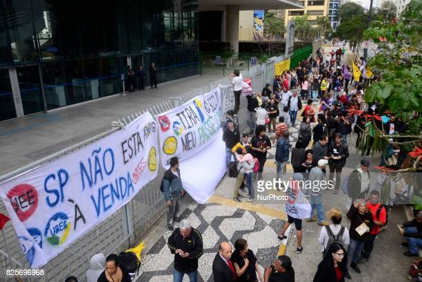 With the slogan quotSão Paulo is not for salequot protesters linked to leftist parties like PT PCdoB and PSOL made a protest in front of the São...