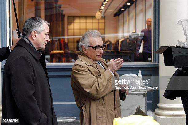 With the Tribeca Theater Festival getting underway actor Robert De Niro stands by as Martin Scorsese directs a scene on Mercer St for a commercial...