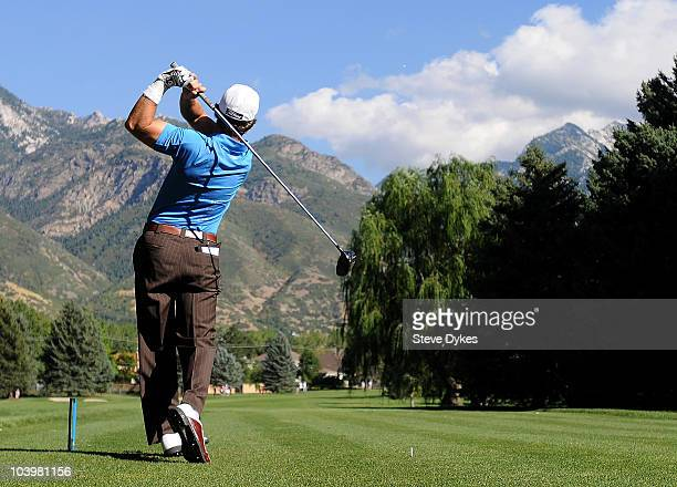 With the Wasatch Mountains as a backdrop Joe Affrunti tees off on the 3rd hole of the Willow Creek Country Club during the second round of the Utah...