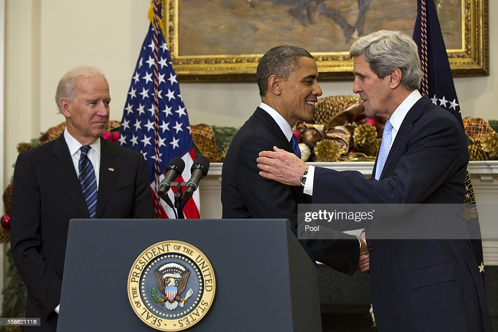 With Vice President Joe Biden looking on, U.S. President <a gi-track='captionPersonalityLinkClicked' href=/galleries/search?phrase=Barack+Obama&family=editorial&specificpeople=203260 ng-click='$event.stopPropagation()'>Barack Obama</a> nominates Sen. <a gi-track='captionPersonalityLinkClicked' href=/galleries/search?phrase=John+Kerry&family=editorial&specificpeople=154885 ng-click='$event.stopPropagation()'>John Kerry</a> (D-MA) to be the next Secretary of State in the Roosevelt Room of the White House December 21, 2012 in Washington, DC. If confirmed, Kerry will replace retiring Secretary of State Hillary Clinton early in 2013.