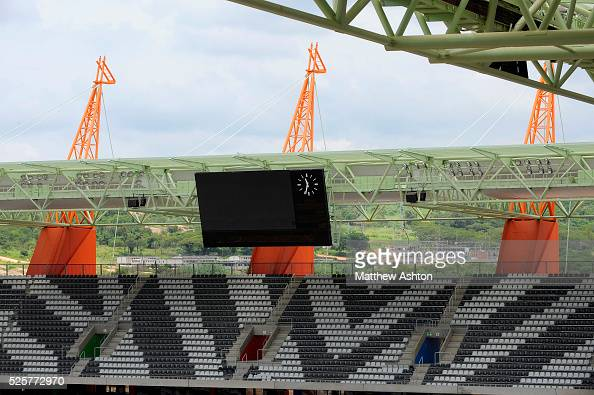 With Zebra style seats giraffe structures tower out from the stadium at the Mbombela Stadium in Nelspruit South Africa One of the host venue for the...