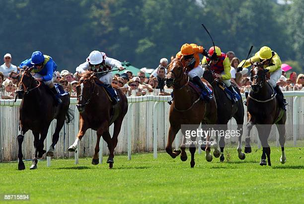 Without A Prayer ridden by Richard Kingscote goes on to win the Totepool Midsummer Stakes at Royal Windsor Racecourse on June 27 2009 in Windsor...