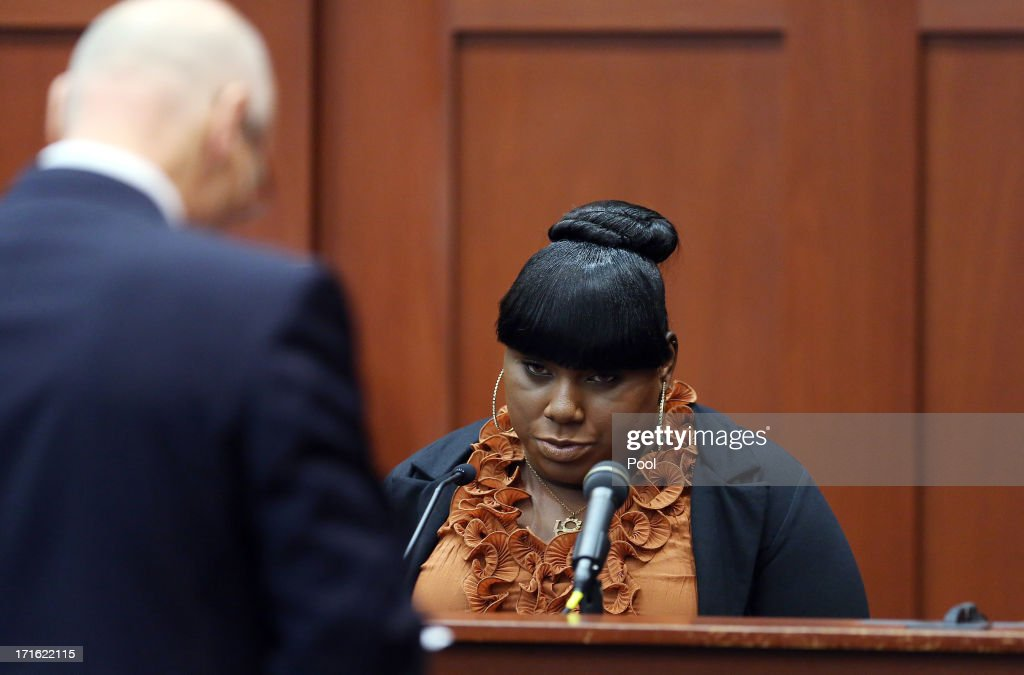 Witness Rachel Jeantel (R) continues her testimony to defense attorney Don West on during George Zimmerman's murder trial June 27, 2013 in Sanford, Florida. Zimmerman is charged with second-degree murder for the February 2012 shooting death of 17-year-old Trayvon Martin.