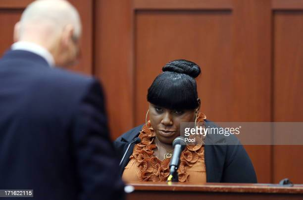Witness Rachel Jeantel continues her testimony to defense attorney Don West on during George Zimmerman's murder trial June 27 2013 in Sanford Florida...