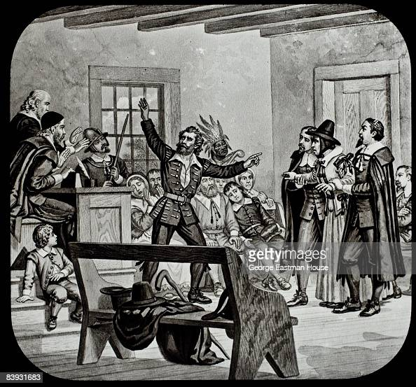 A witness testifies at a witchcraft trial in New England 1692 for WitchcraftNew England 1692
