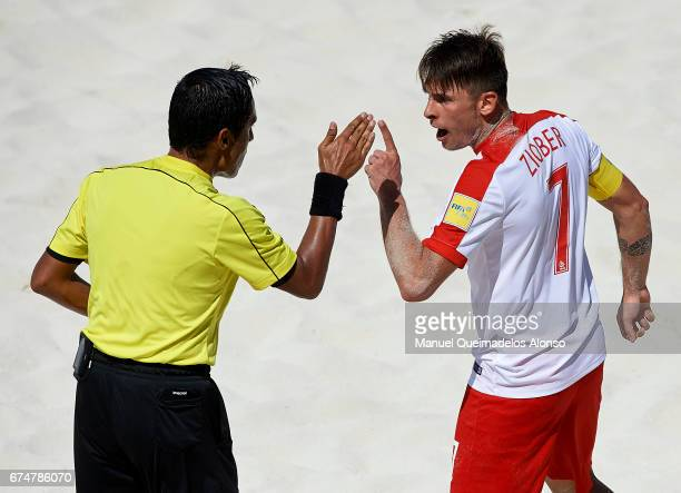 Witold Ziober of Poland argues with referee during the FIFA Beach Soccer World Cup Bahamas 2017 group D match between Japan and Poland at National...