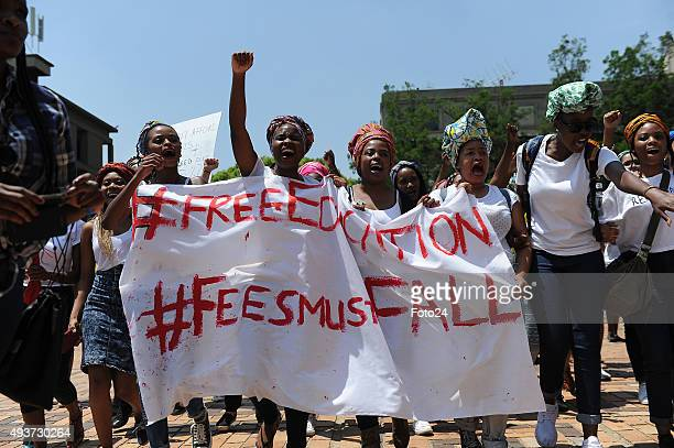 Wits staff members support students who are protesting over the increase of tuition fees on October 19 2015 in Johannesburg South Africa Wits...