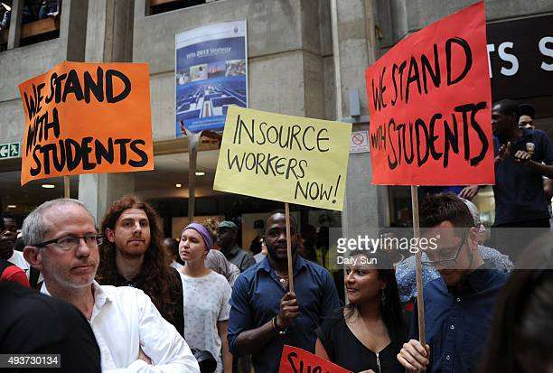 Wits students during a protest over the increase of tuition fees on October 19 2015 in Johannesburg South Africa Wits students continued to protest...