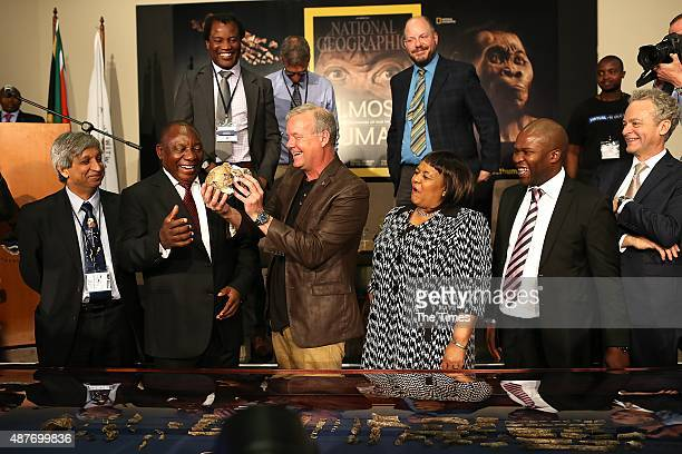 Wits Vice Chancellor Adam Habib Deputy President Cyril Ramaphosa and Professor Lee Berger reveal the discovery of a new species of human relative...