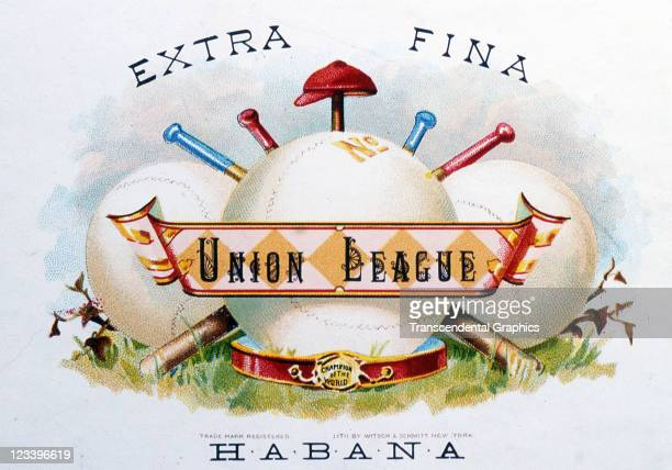 Witsch and Schmitt lithographers use baseball items in a design to promote Union League cigars on this label from mid 1880s printed in New York City