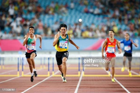 Witthawat Thumcha of Thailand in action during the Boy's 400m Hurdles Final on day six of the 2nd Asian Youth Games on August 22 2013 in Nanjing China