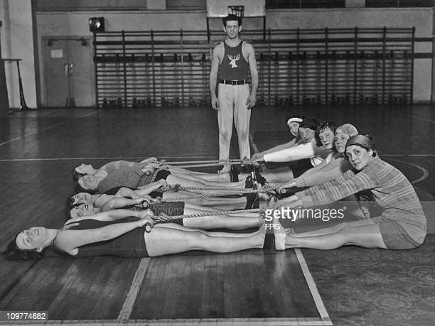 Wives and members of the Philadelphia Elks taking part in a gym exercise class circa 1930
