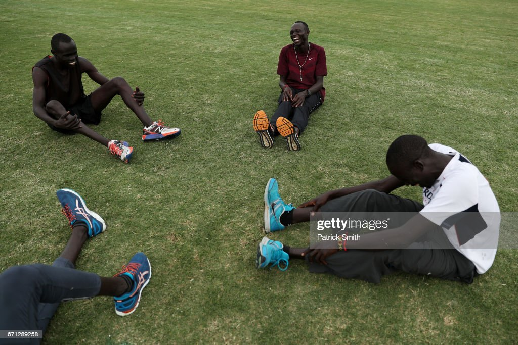 Wiyual Puok Deng (L), Paulo Amotun Lokoro (C), Dominic Lokinyomo Lobalu (R) and Gai Nyang Tap (bottom L) of the Athlete Refugee Team practice prior to the IAAF / BTC World Relays Bahamas 2017 at the Thomas Robinson Stadium on April 21, 2017 in Nassau, Bahamas.