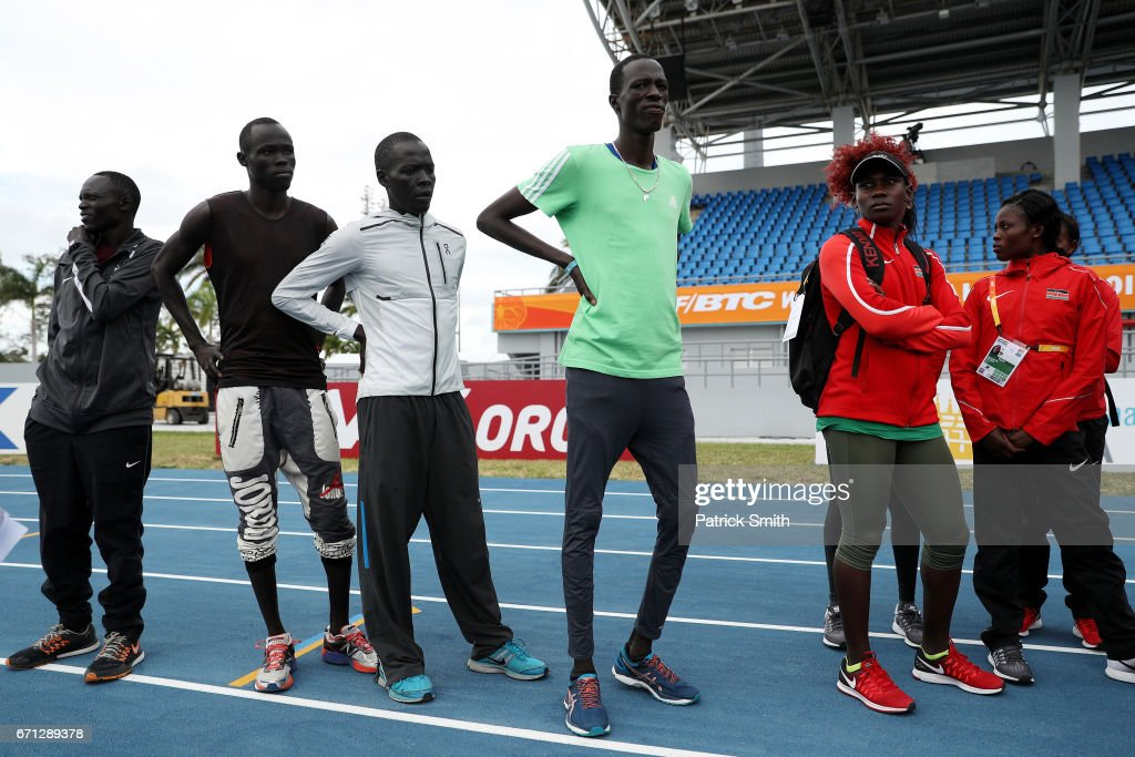 Wiyual Puok Deng, Paulo Amotun Lokoro, Dominic Lokinyomo Lobalu and Gai Nyang Tap of the Athlete Refugee Team speak to members of team Kenya prior to the IAAF / BTC World Relays Bahamas 2017 at the Thomas Robinson Stadium on April 21, 2017 in Nassau, Bahamas.