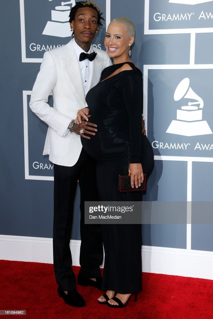 Wiz Khalifa and Amber Rose arrive at the 55th Annual Grammy Awards at the Staples Center on February 10, 2013 in Los Angeles, California.