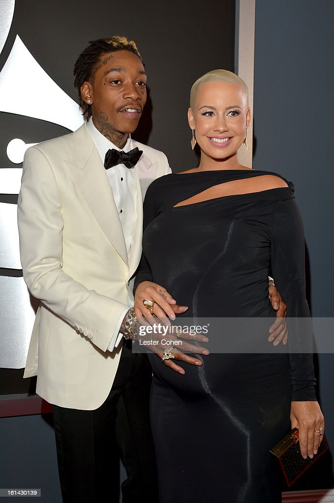 Wiz Khalifa and Amber Rose attend the 55th Annual GRAMMY Awards at STAPLES Center on February 10, 2013 in Los Angeles, California.