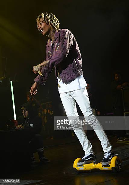 Wiz Khalifa performs during the 2015 Boys of Zummer Tour at Concord Pavilion on August 4 2015 in Concord California