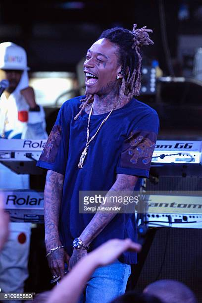Wiz Khalifa performs live onstage at the Sports Illustrated Swimsuit 2016 Concert for SI Swimsuit Launch Week at STORY Miami on February 17 2016 in...