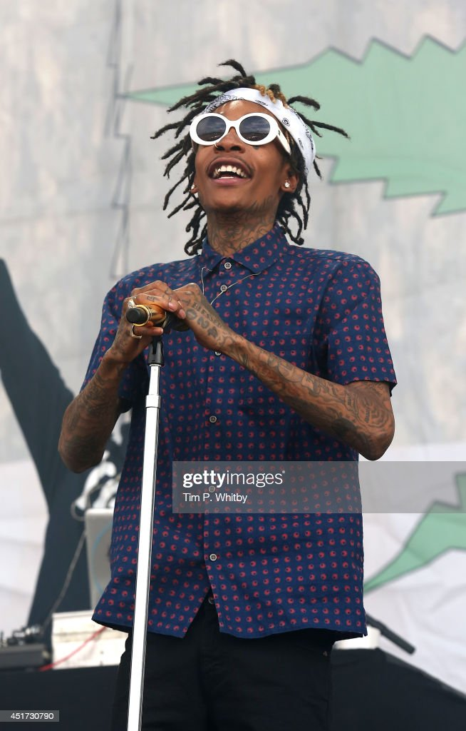 Wiz Khalifa performs on stage at Wireless Festival at Finsbury Park on July 5, 2014 in London, United Kingdom.