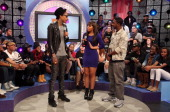 Wiz Khalifa visits BET's '106 And Park' with hosts Kimberly 'Paigion' Walker and Shorty Da Prince at 106 Park Studio on December 3 2012 in New York...