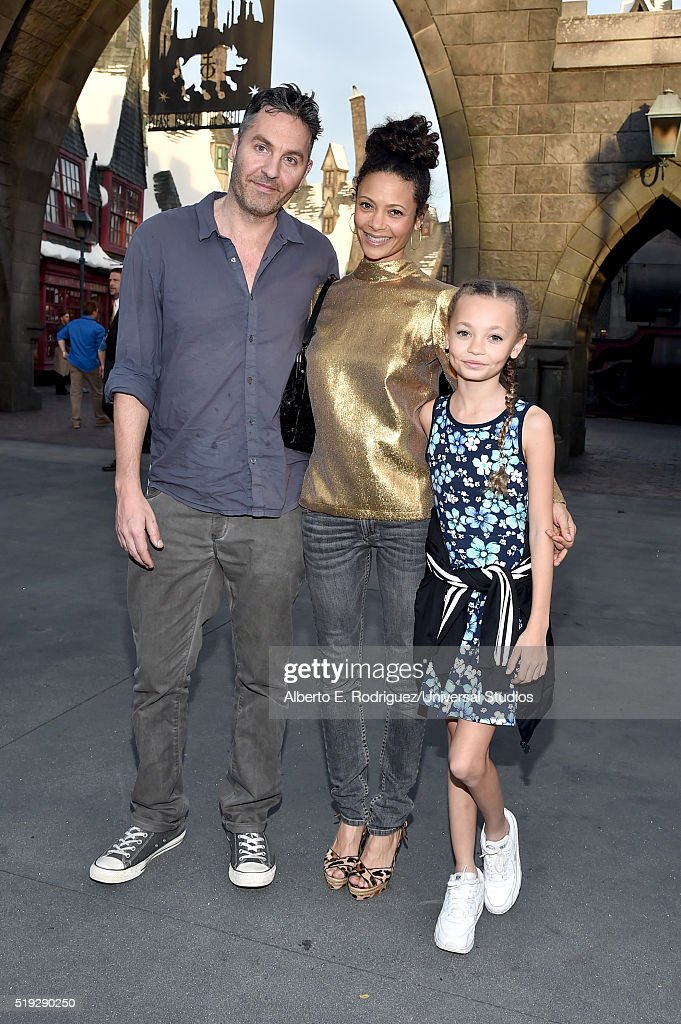 HOLLYWOOD 'Wizarding World of Harry Potter Attraction Opening' Pictured Screenwriter Ol Parker actress Thandie Newton and Nico Parker arrive at the...
