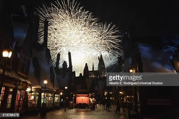 HOLLYWOOD 'Wizarding World of Harry Potter Attraction Opening' Pictured View of fireworks behind the Hogwarts castle at the opening of the 'Wizarding...