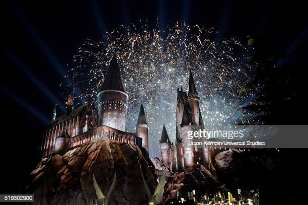 HOLLYWOOD 'Wizarding World of Harry Potter Attraction Opening' Pictured View of fireworks behind the Hogwarts Castle attend the opening of the...