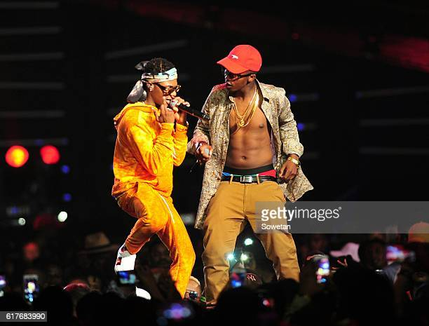 Wizkid and Emtee perform during the 2016 MTV Africa Music Awards at the Ticketpro Dome on October 22 2016 in Johannesburg South Africa MTV Africa...