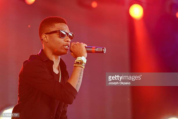 Wizkid performs on day 1 of the Yahoo Wireless Festival at Queen Elizabeth Olympic Park on July 12 2013 in London England