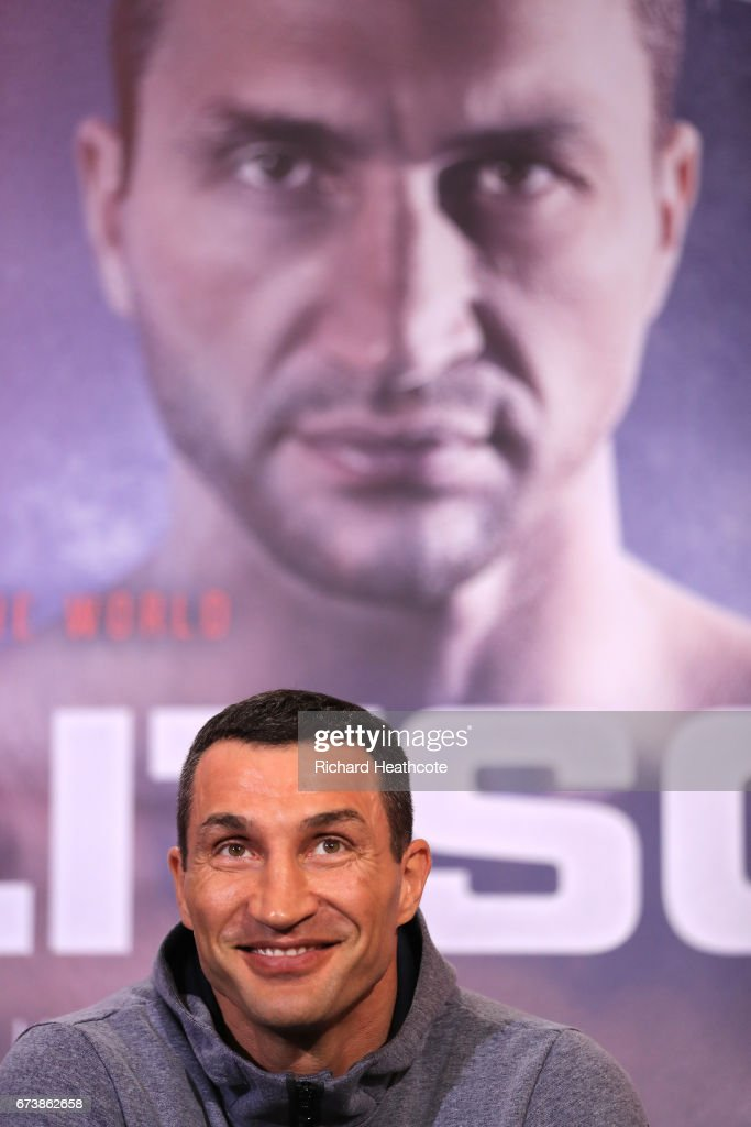 Wladamir Klitschko speaks during a press conference for his Super Heavyweight title fight against Anthony Joshua at Sky Sports Studios on April 27, 2017 in London, England. Anthony Joshua and Wladamir Klitschko are due to fight for the IBF, IBO and WBA Super Heavyweight Championships of the World at Wembley Stadium on April 29.